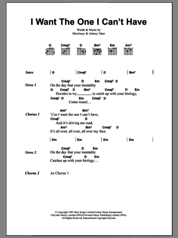I Want The One I Can't Have sheet music for guitar (chords) by The Smiths, Johnny Marr and Steven Morrissey, intermediate guitar (chords). Score Image Preview.