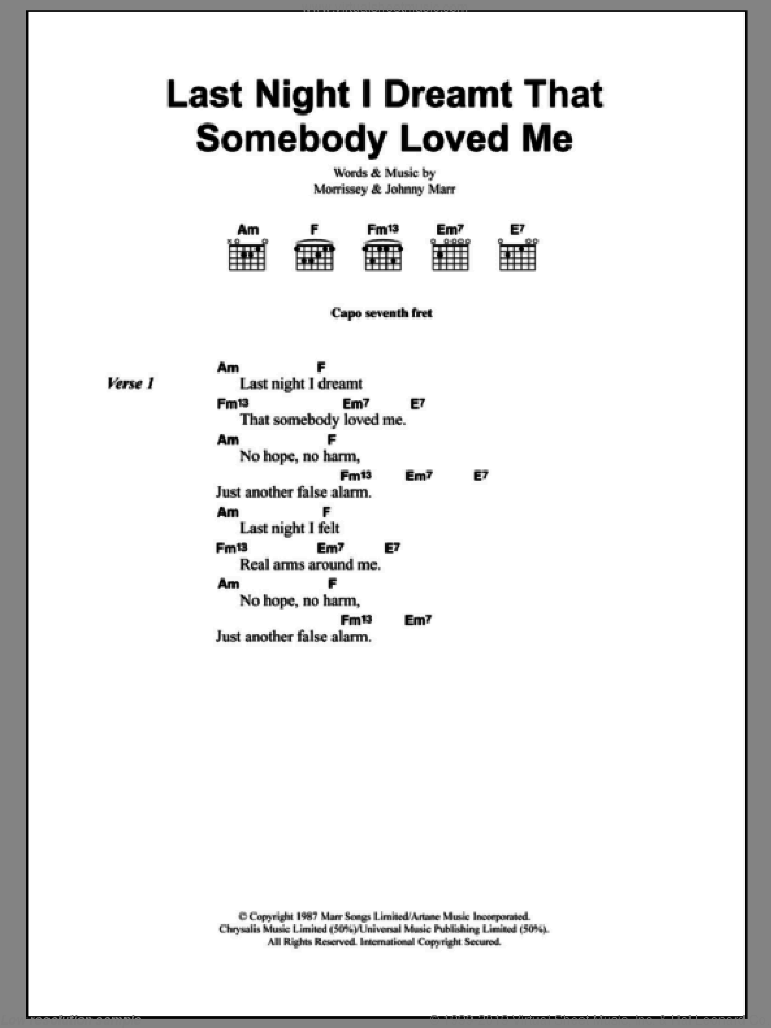 Last Night I Dreamt That Somebody Loved Me sheet music for guitar (chords) by The Smiths, Johnny Marr and Steven Morrissey, intermediate. Score Image Preview.