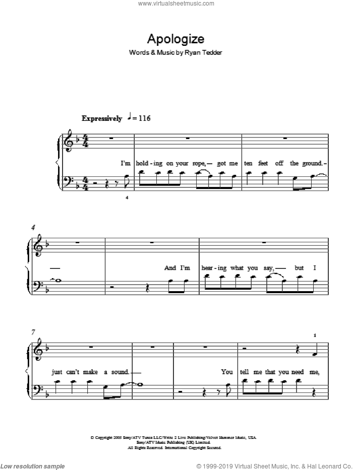 Apologize sheet music for piano solo by OneRepublic and Ryan Tedder, easy skill level