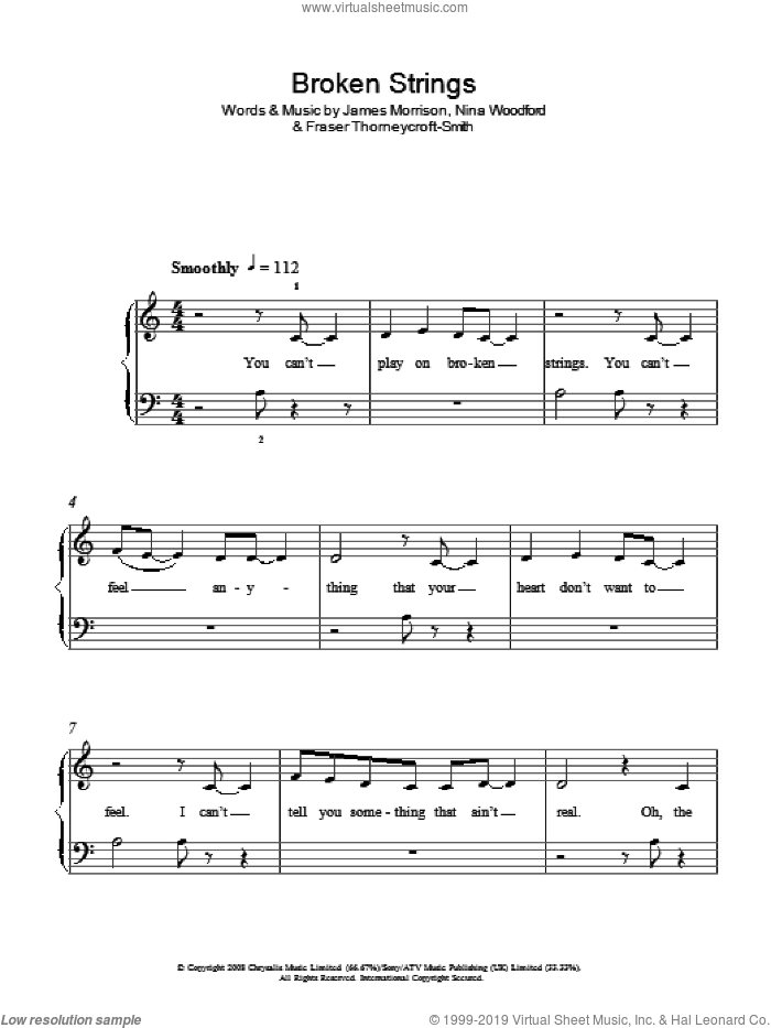 Broken Strings sheet music for piano solo by Nina Woodford, James Morrison, Nelly Furtado and Fraser Thorneycroft-Smith. Score Image Preview.