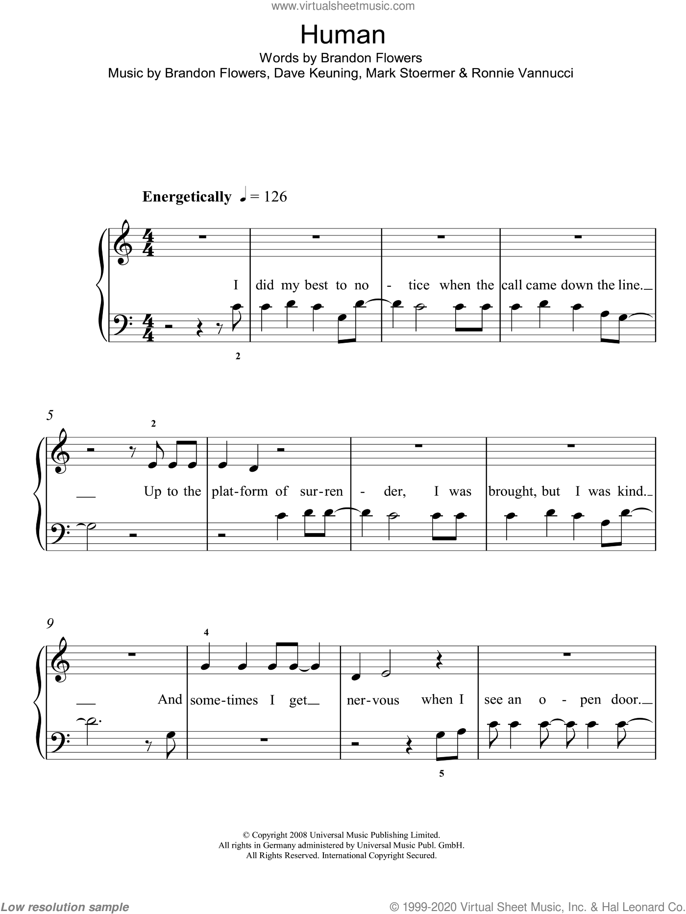 Human sheet music for piano solo (chords) by Ronnie Vannucci