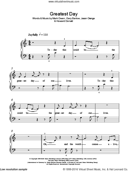 Greatest Day sheet music for piano solo (chords) by Mark Owen