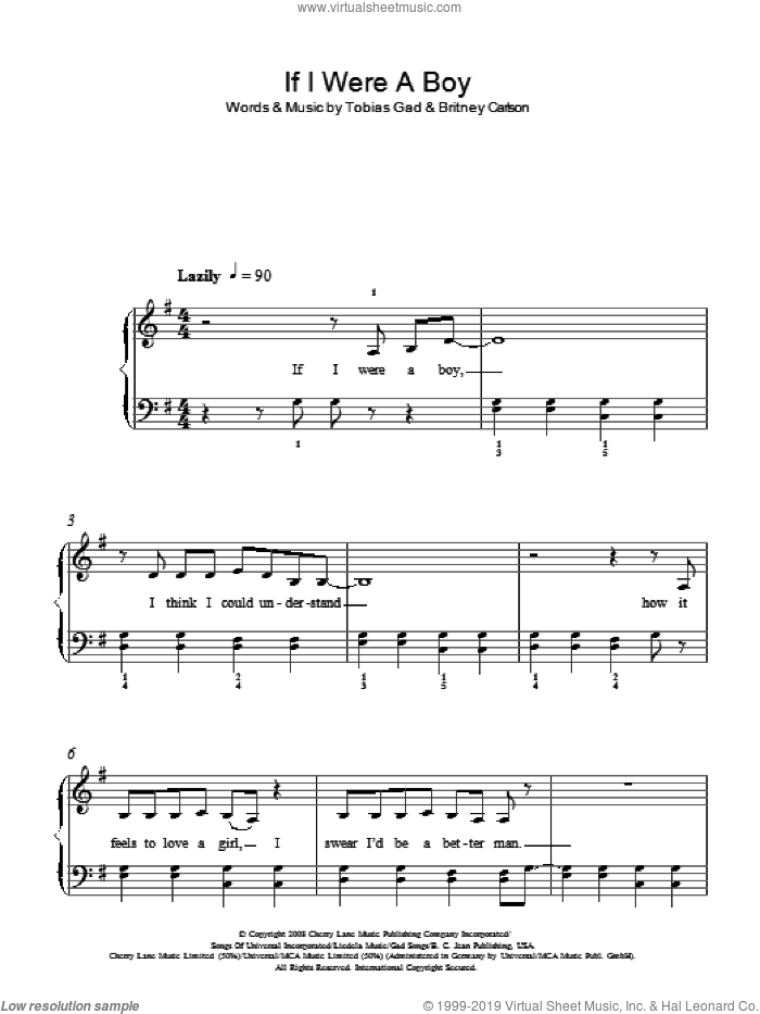If I Were A Boy sheet music for piano solo by Beyonce, Britney Carlson and Toby Gad, easy skill level