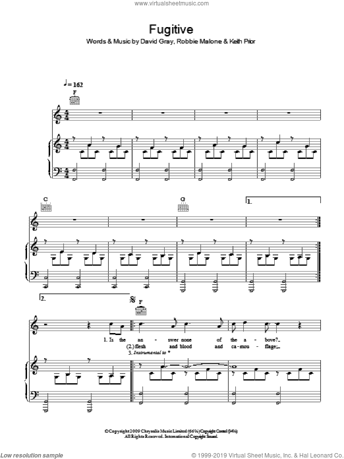 Fugitive sheet music for voice, piano or guitar by David Gray, intermediate voice, piano or guitar. Score Image Preview.