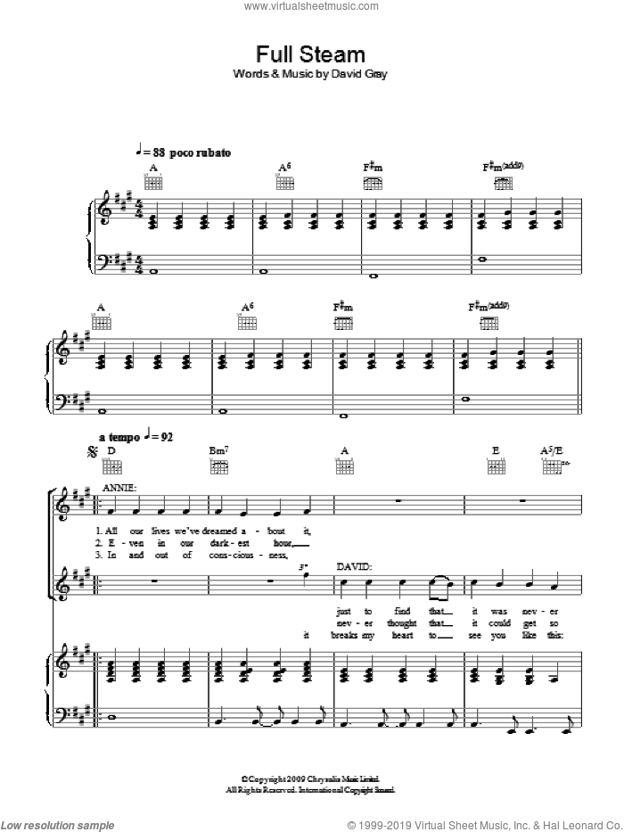 Full Steam sheet music for voice, piano or guitar by David Gray. Score Image Preview.