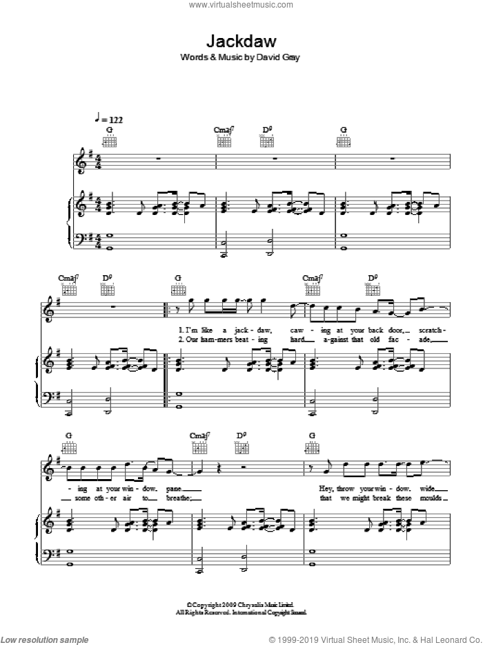 Jackdaw sheet music for voice, piano or guitar by David Gray. Score Image Preview.
