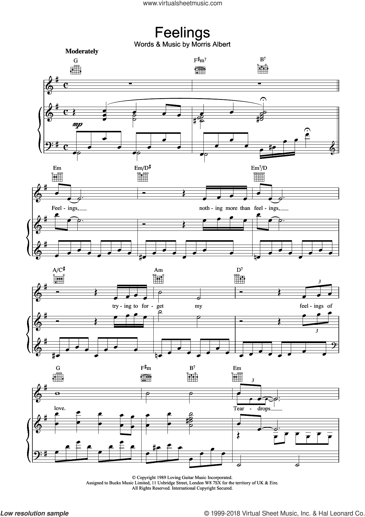 Feelings (Dime) sheet music for voice, piano or guitar by Morris Albert, intermediate skill level