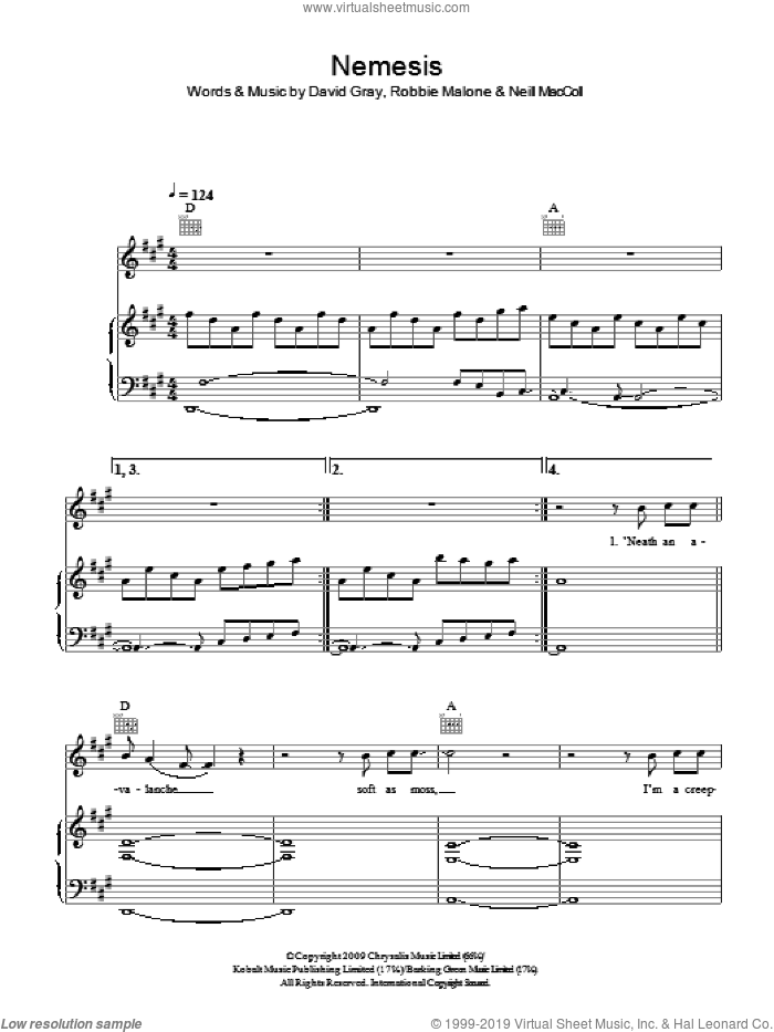 Nemesis sheet music for voice, piano or guitar by Robbie Malone and David Gray. Score Image Preview.