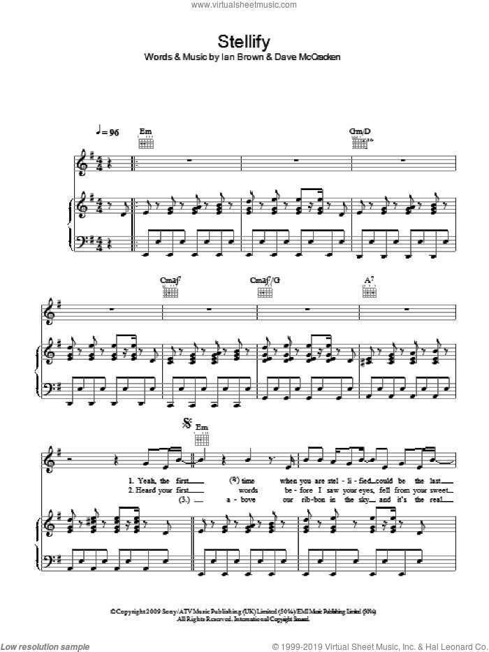 Stellify sheet music for voice, piano or guitar by Ian Brown, intermediate voice, piano or guitar. Score Image Preview.