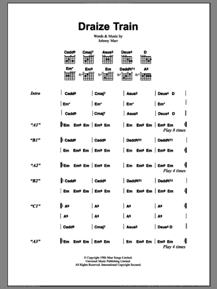 Draize Train sheet music for guitar (chords) by The Smiths and Johnny Marr, intermediate. Score Image Preview.