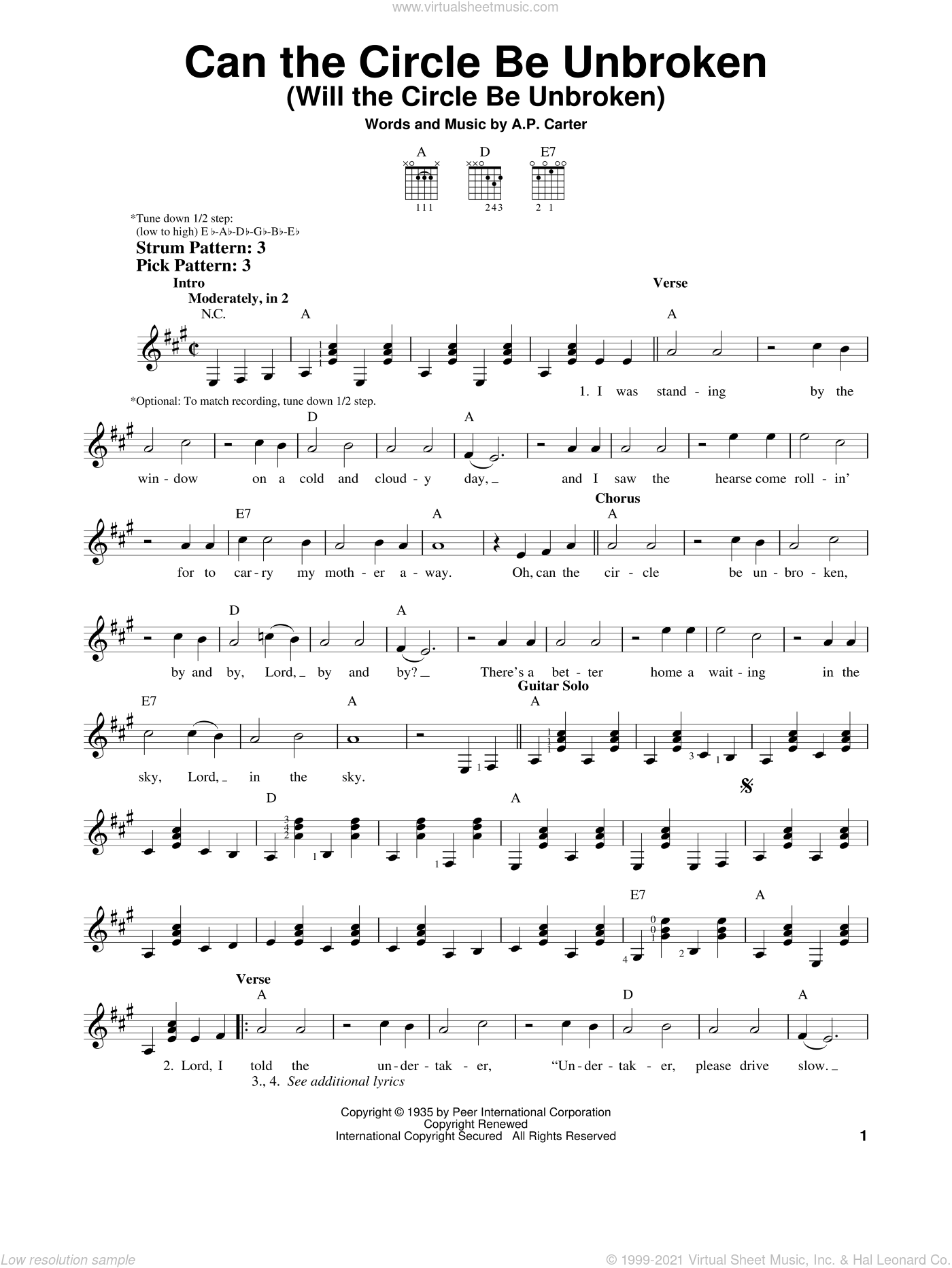 Can The Circle Be Unbroken (Will The Circle Be Unbroken) sheet music for guitar solo (chords) by The Carter Family and A.P. Carter, easy guitar (chords)