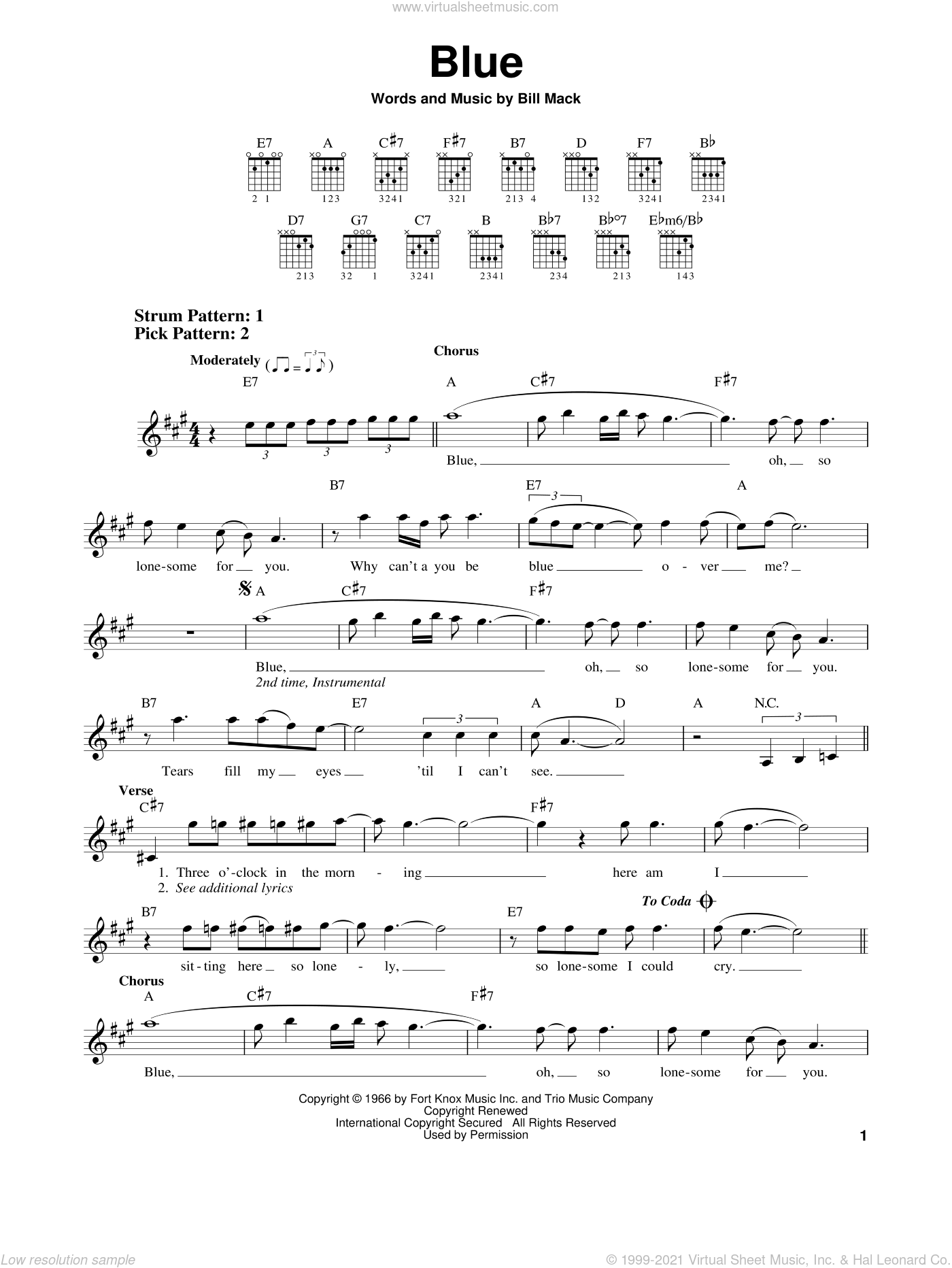 Blue sheet music for guitar solo (chords) by Bill Mack