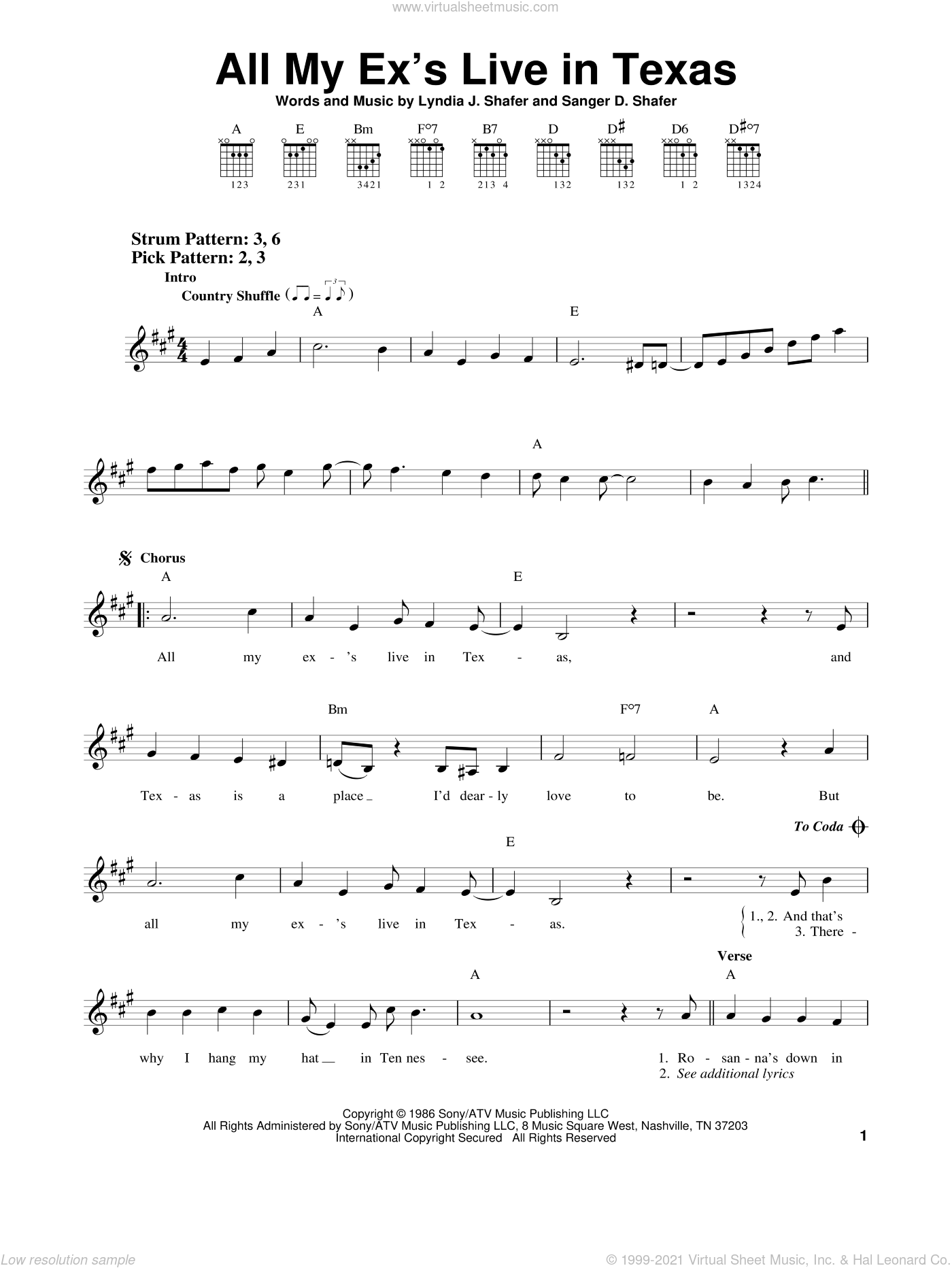 All My Ex's Live In Texas sheet music for guitar solo (chords) by Sanger D. Shafer