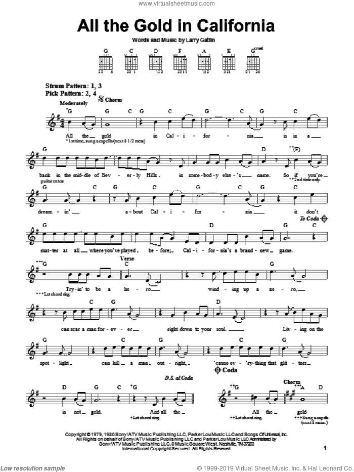 All The Gold In California sheet music for guitar solo (chords) by The Gatlin Brothers and Larry Gatlin, easy guitar (chords)