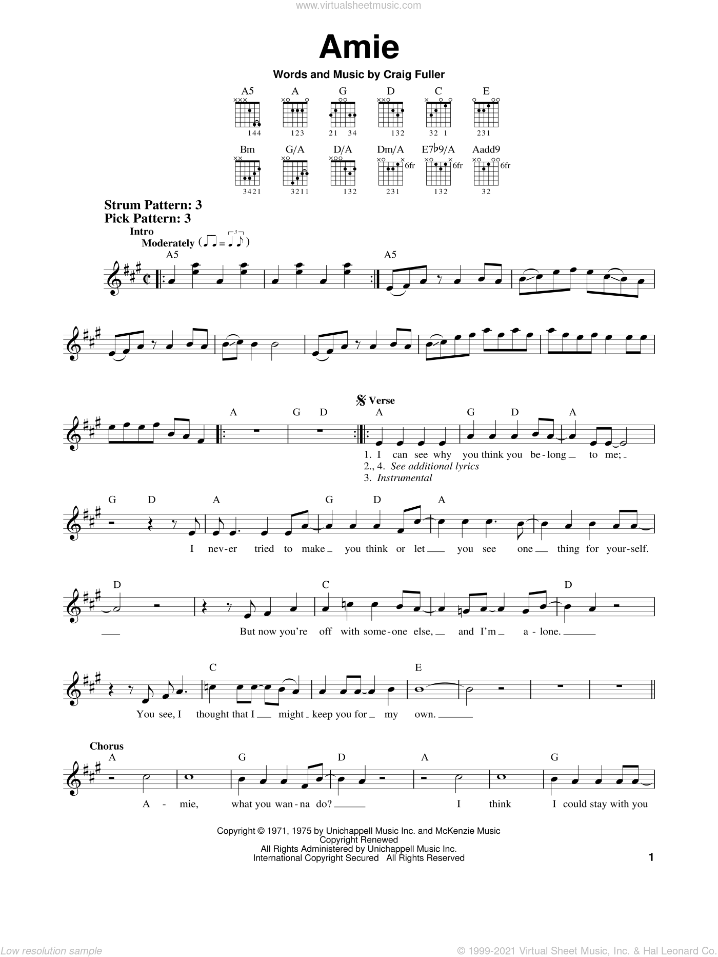 Amie sheet music for guitar solo (chords) by Pure Prairie League and Craig Fuller, easy guitar (chords)