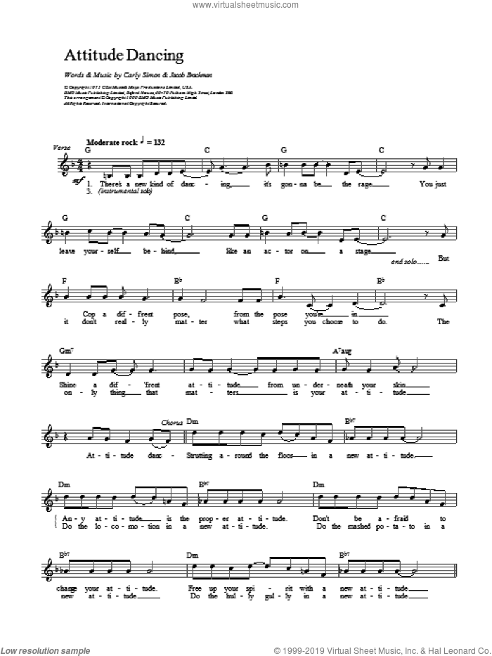 Attitude Dancing sheet music for voice and other instruments (fake book) by Carly Simon, intermediate