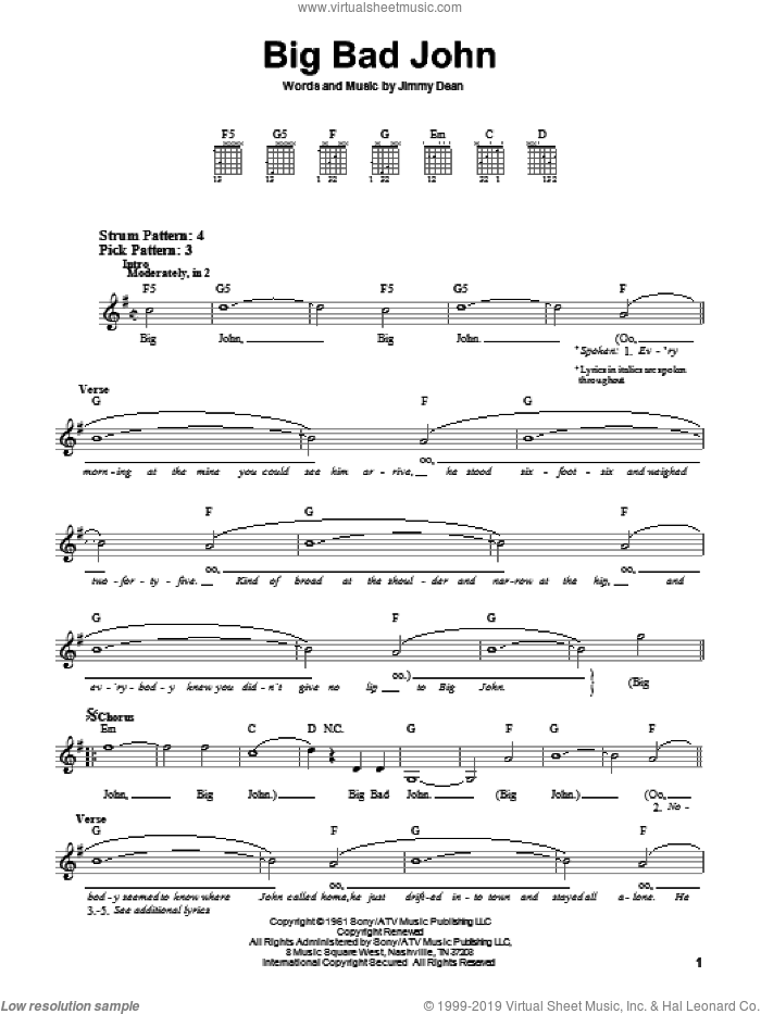 Big Bad John sheet music for guitar solo (chords) by Jimmy Dean. Score Image Preview.