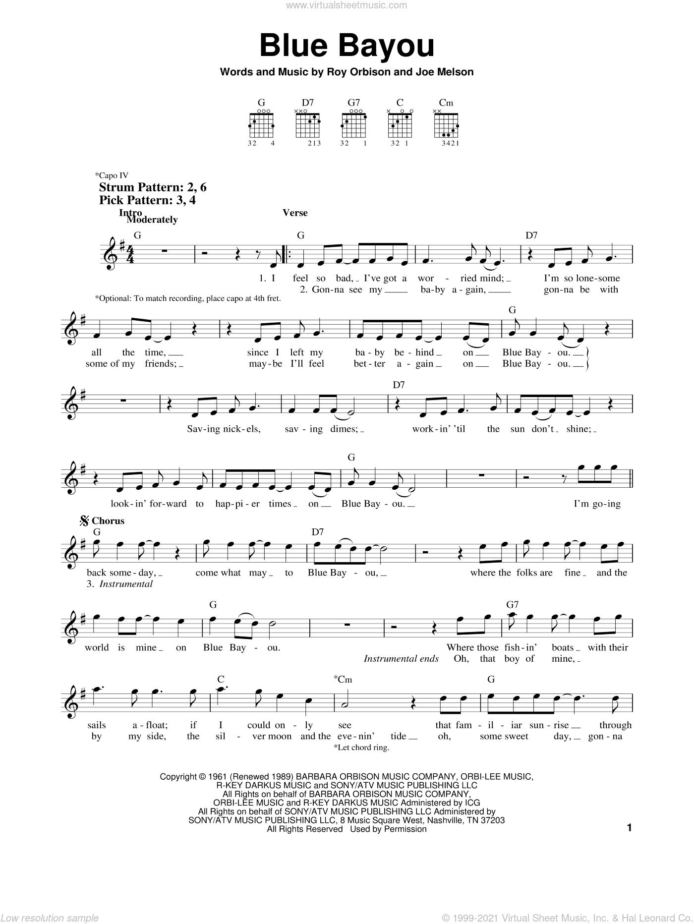 Blue Bayou sheet music for guitar solo (chords) by Linda Ronstadt, Joe Melson and Roy Orbison, easy guitar (chords)