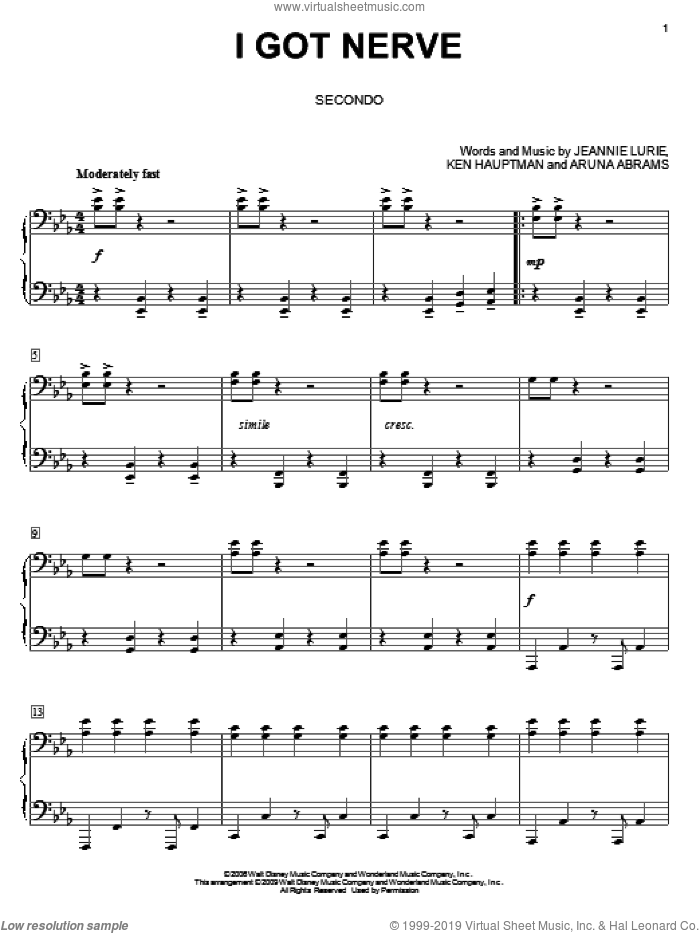 I Got Nerve sheet music for piano four hands (duets) by Ken Hauptman, Hannah Montana, Miley Cyrus and Jeannie Lurie. Score Image Preview.