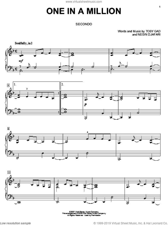 One In A Million sheet music for piano four hands by Hannah Montana, Miley Cyrus and Toby Gad, intermediate. Score Image Preview.