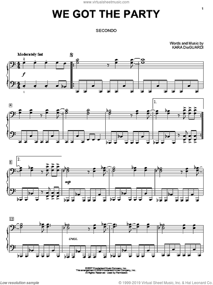 We Got The Party sheet music for piano four hands (duets) by Hannah Montana, Miley Cyrus and Kara DioGuardi, intermediate. Score Image Preview.