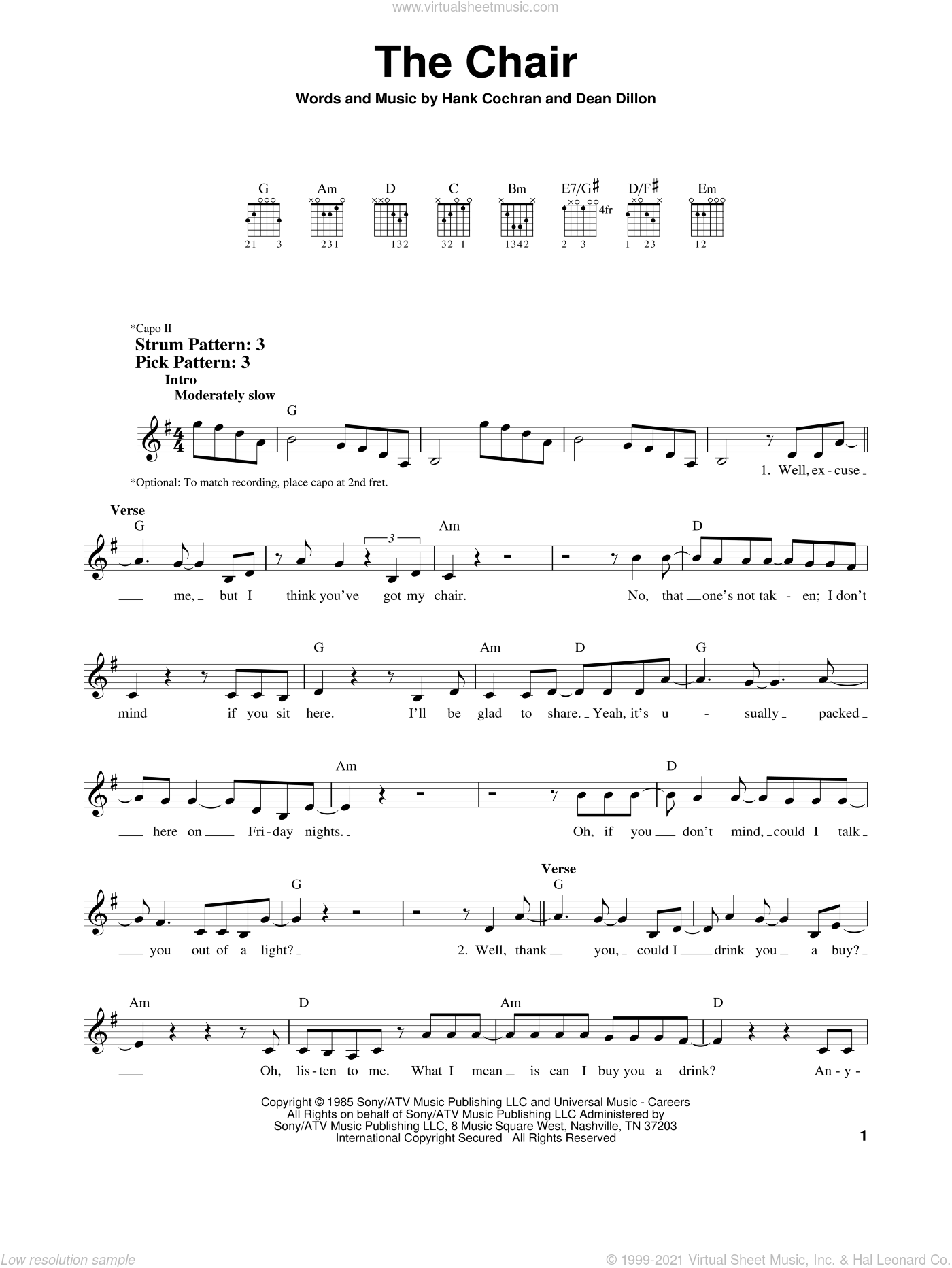 The Chair sheet music for guitar solo (chords) by Hank Cochran
