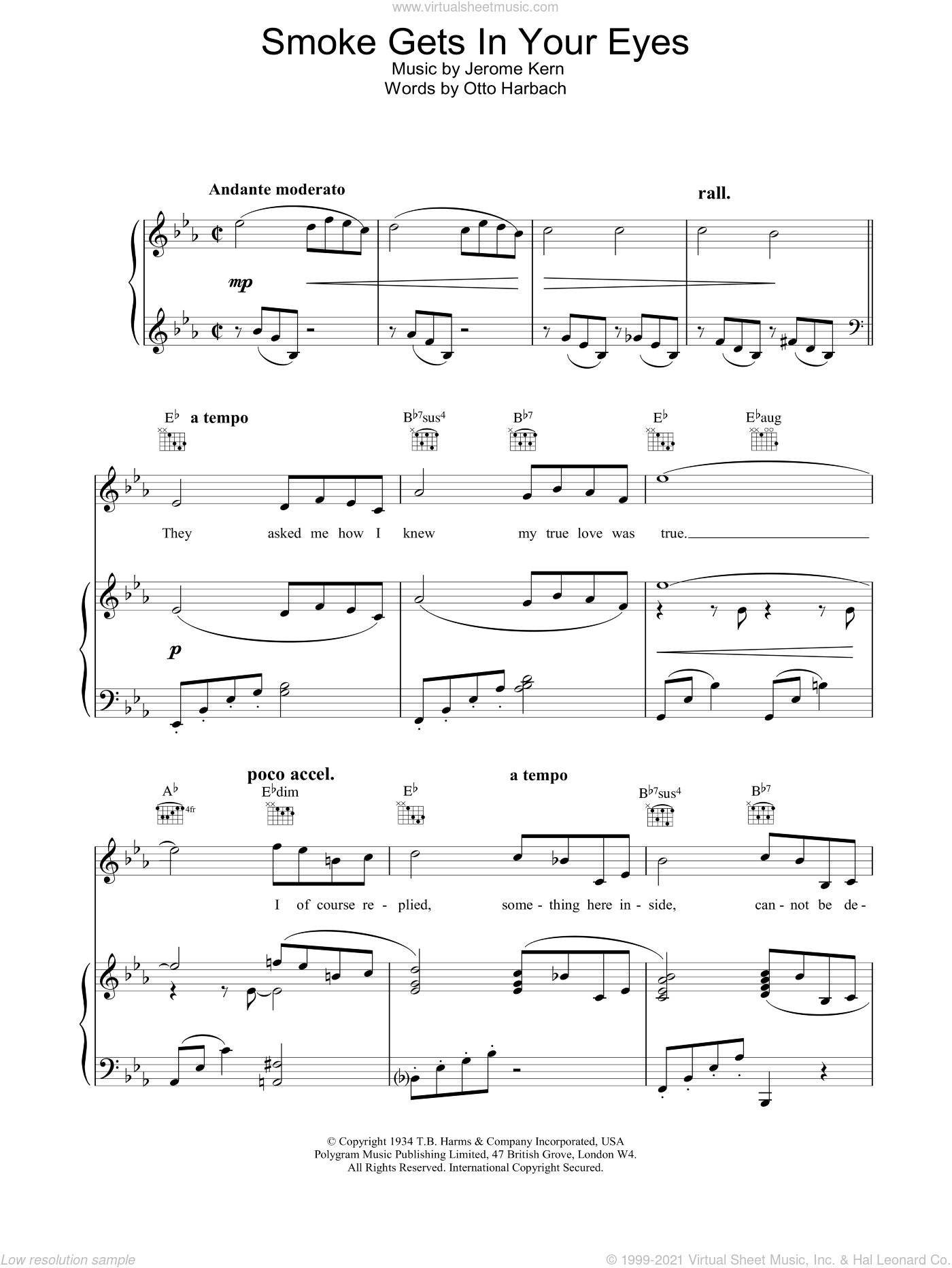Smoke Gets In Your Eyes sheet music for voice, piano or guitar by Frank Sinatra, intermediate skill level