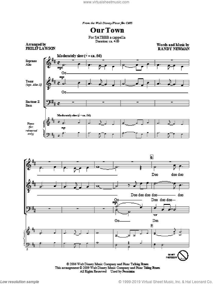 Our Town sheet music for choir (SATB: soprano, alto, tenor, bass) by Randy Newman, James Taylor and Philip Lawson, intermediate skill level