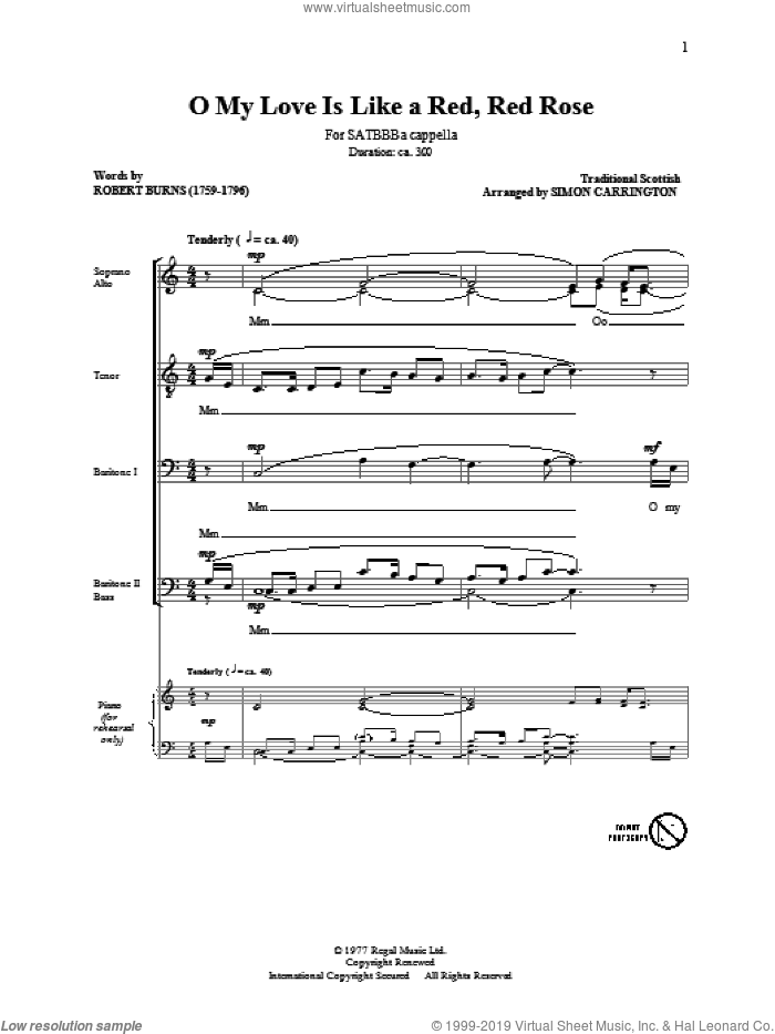 O My Love Is Like A Red, Red Rose sheet music for choir (SATB: soprano, alto, tenor, bass) by Robert Burns, Miscellaneous and Simon Carrington, intermediate skill level
