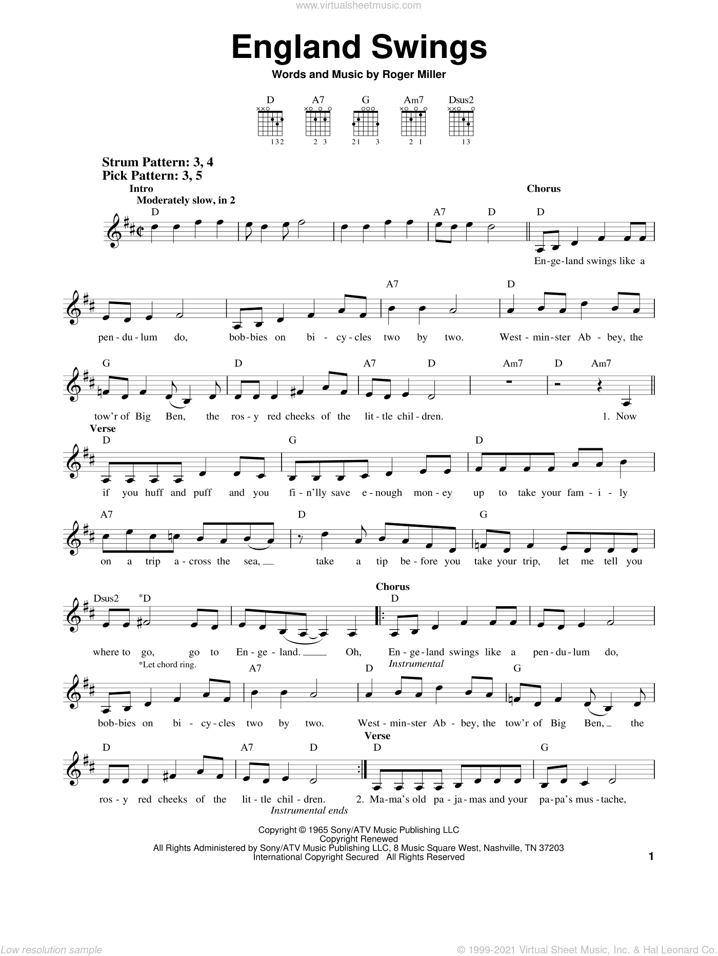 England Swings sheet music for guitar solo (chords) by Roger Miller