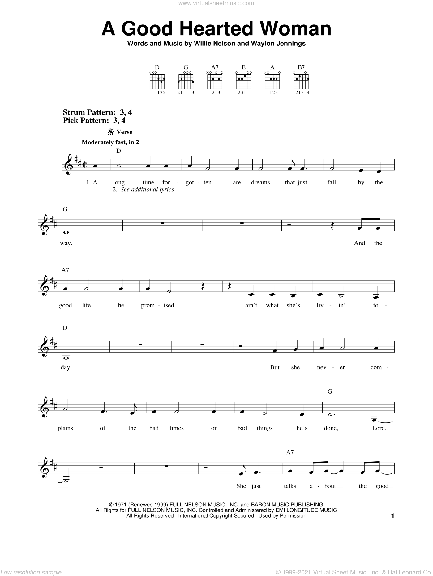 A Good Hearted Woman sheet music for guitar solo (chords) by Willie Nelson and Waylon Jennings, easy guitar (chords). Score Image Preview.