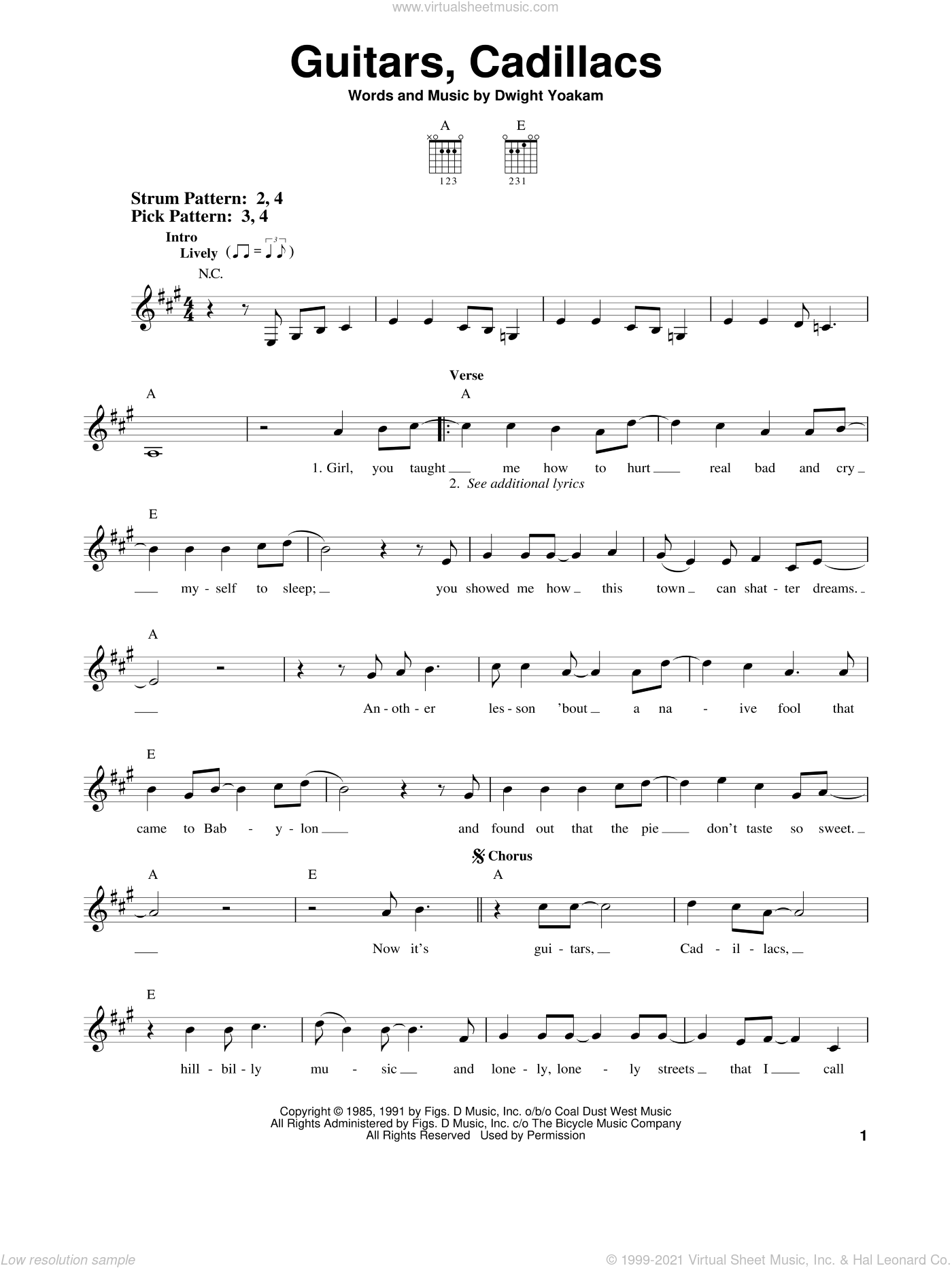 Guitars, Cadillacs sheet music for guitar solo (chords) by Dwight Yoakam. Score Image Preview.