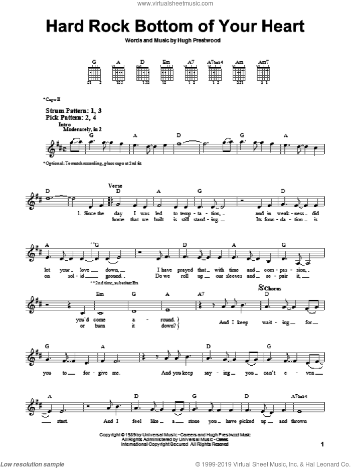 Hard Rock Bottom Of Your Heart sheet music for guitar solo (chords) by Randy Travis and Hugh Prestwood, easy guitar (chords)