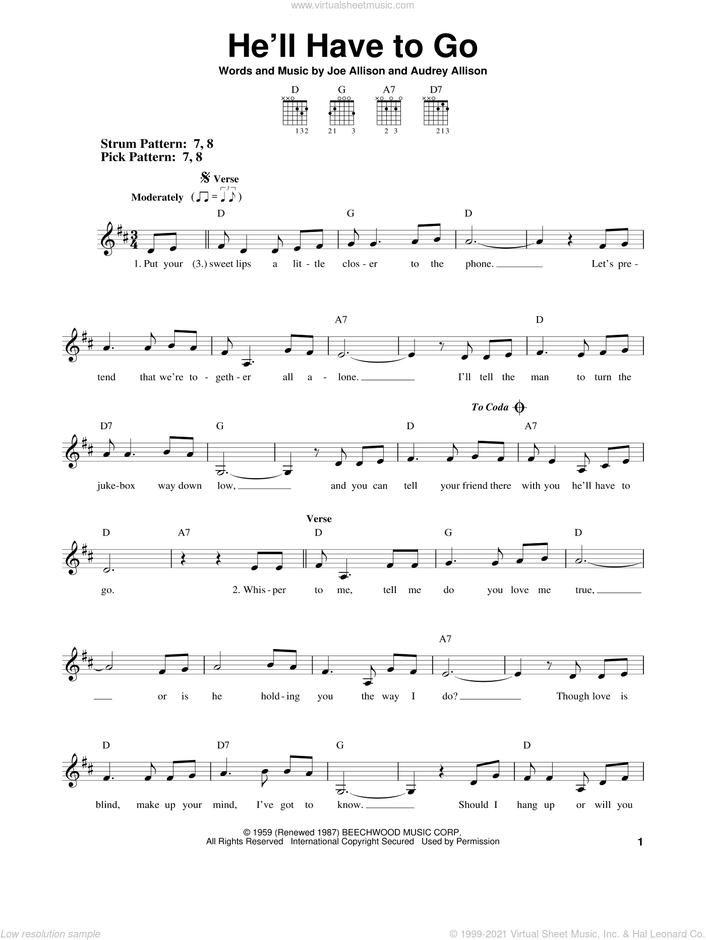 He'll Have To Go sheet music for guitar solo (chords) by Jim Reeves, Audrey Allison and Joe Allison, easy guitar (chords)
