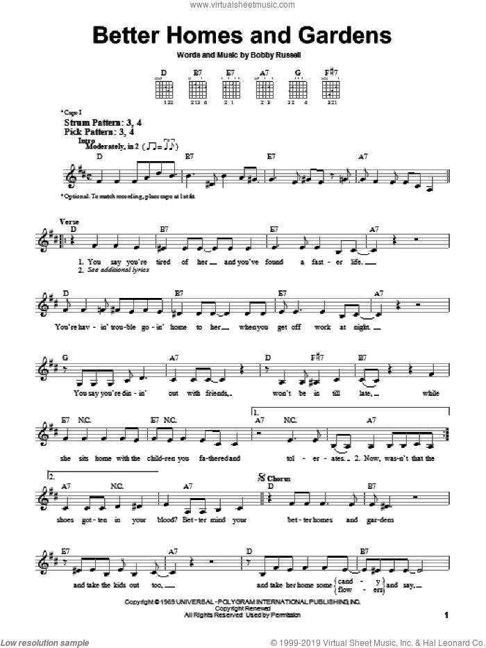Better Homes And Gardens sheet music for guitar solo (chords) by Bobby Russell
