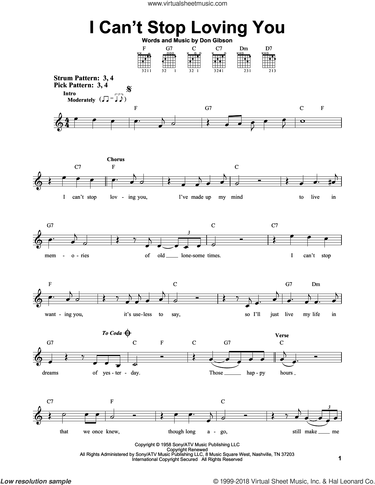 I Can't Stop Loving You sheet music for guitar solo (chords) by Don Gibson