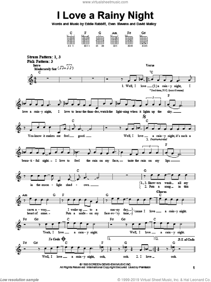 I Love A Rainy Night sheet music for guitar solo (chords) by Even Stevens, David Malloy and Eddie Rabbitt. Score Image Preview.