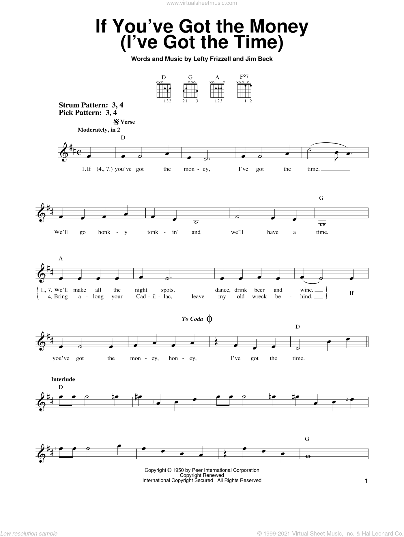 If You've Got The Money (I've Got The Time) sheet music for guitar solo (chords) by Jim Beck, Willie Nelson and Lefty Frizzell