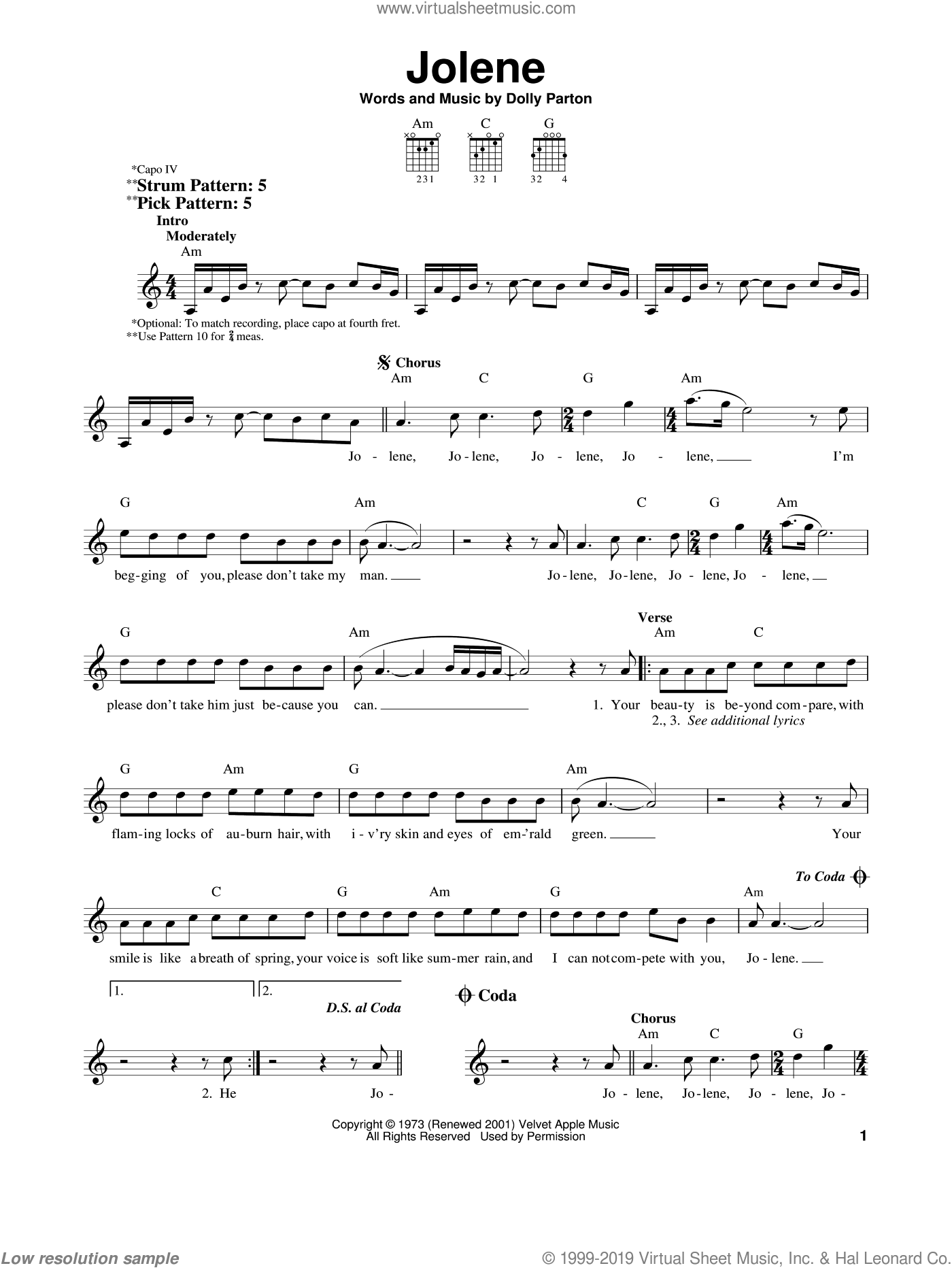 Jolene sheet music for guitar solo (chords) by Dolly Parton, easy guitar (chords)