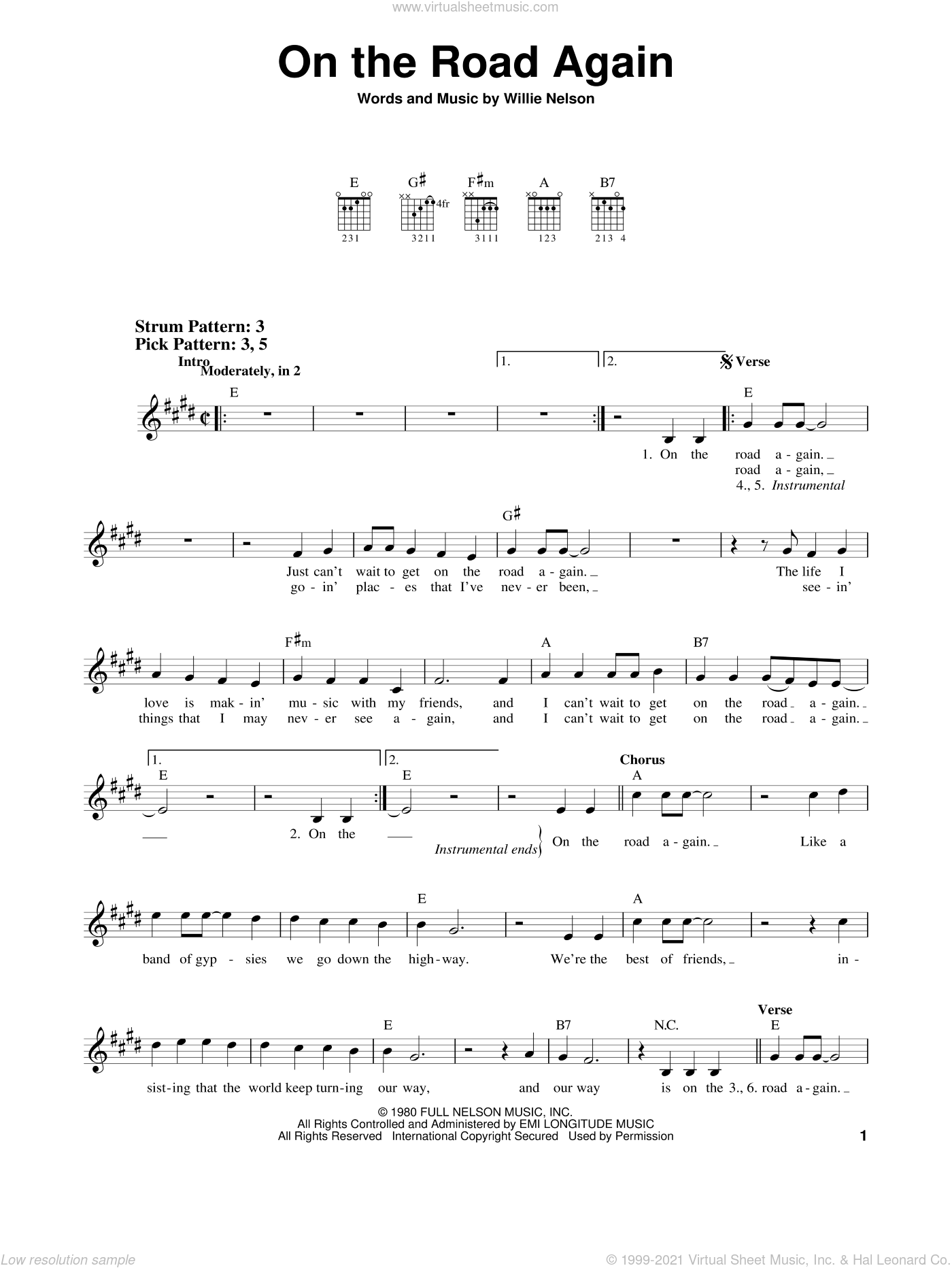 On The Road Again sheet music for guitar solo (chords) by Willie Nelson