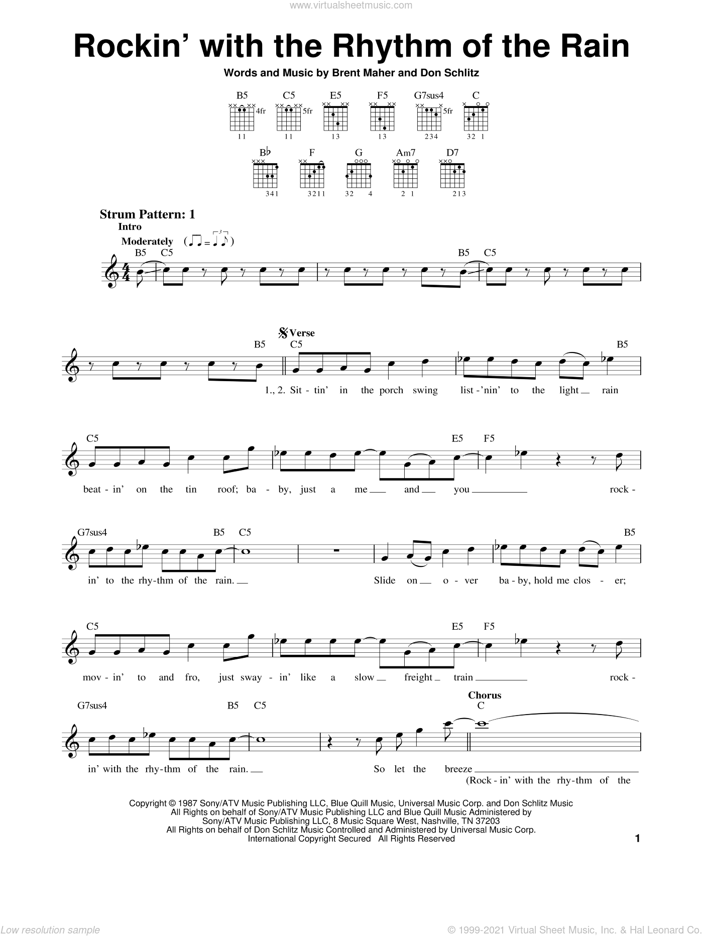 Rockin' With The Rhythm Of The Rain sheet music for guitar solo (chords) by Don Schlitz