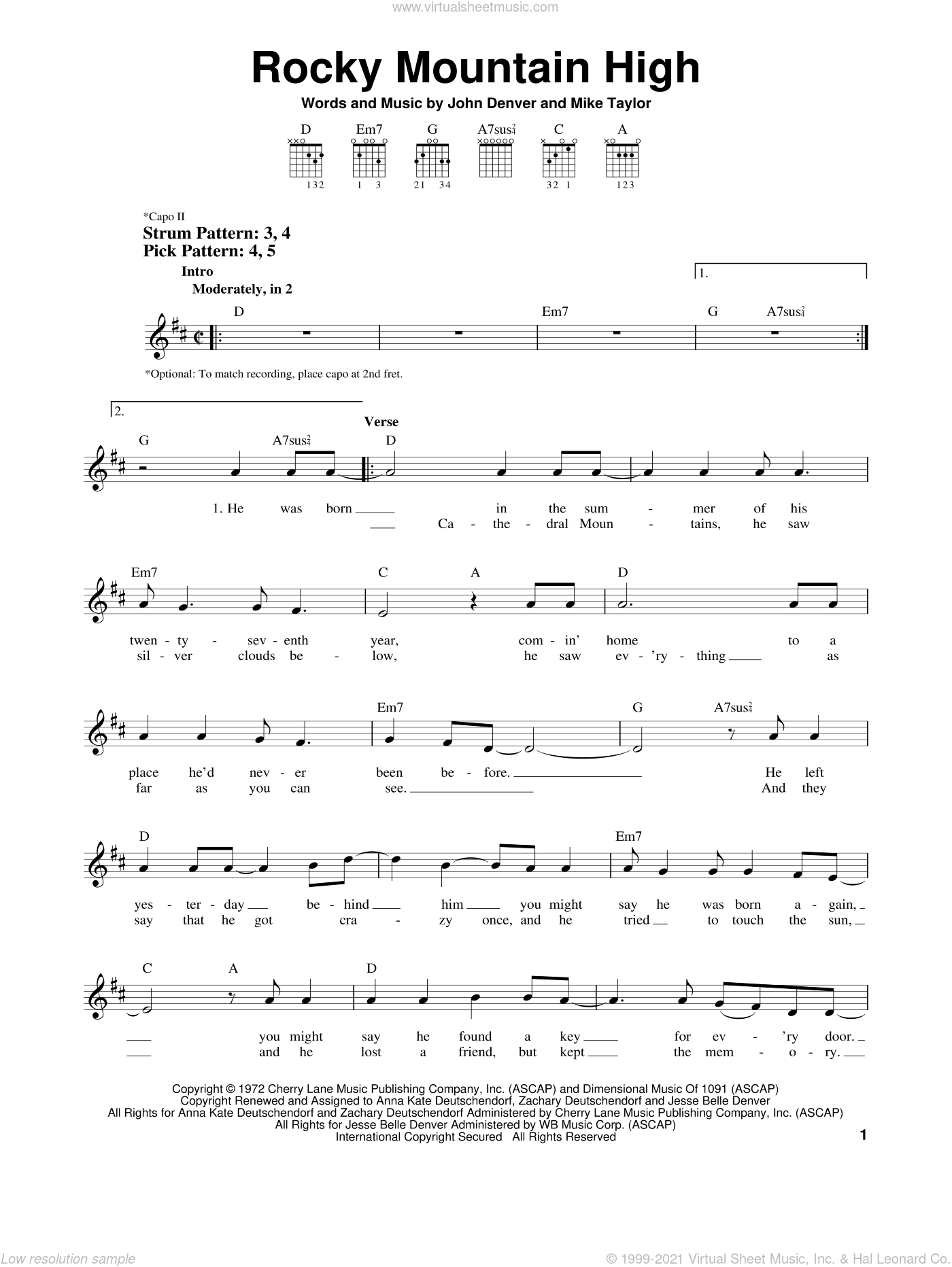 Rocky Mountain High sheet music for guitar solo (chords) by John Denver and Mike Taylor, easy guitar (chords)