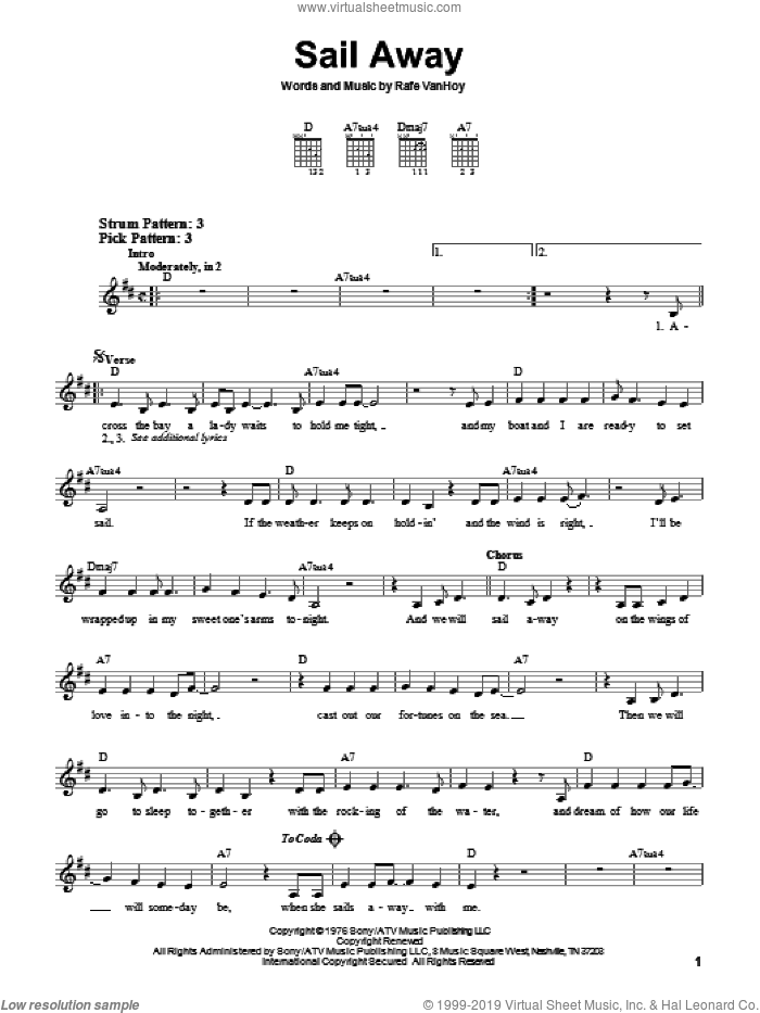 Sail Away sheet music for guitar solo (chords) by Rafe VanHoy