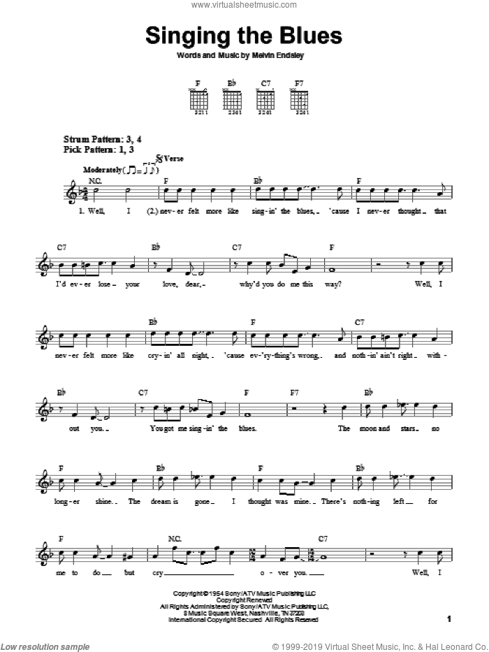 Singing The Blues sheet music for guitar solo (chords) by Guy Mitchell, Marty Robbins and Melvin Endsley, easy guitar (chords)