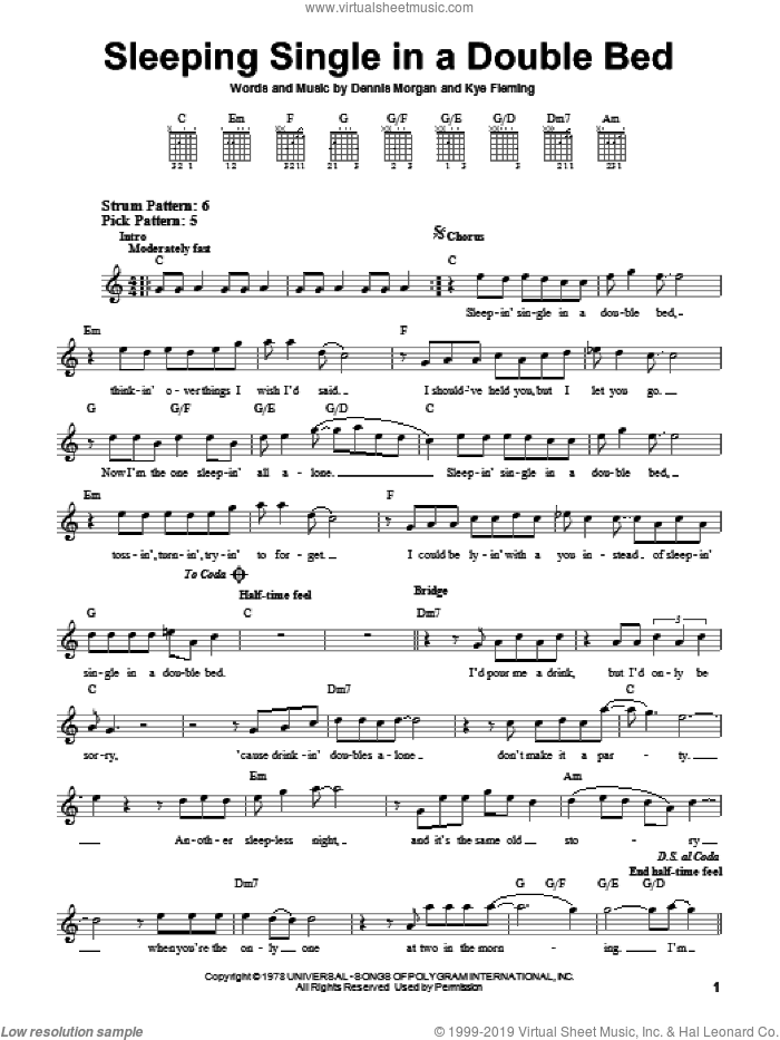 Sleeping Single In A Double Bed sheet music for guitar solo (chords) by Barbara Mandrell, Dennis Morgan and Kye Fleming, easy guitar (chords). Score Image Preview.