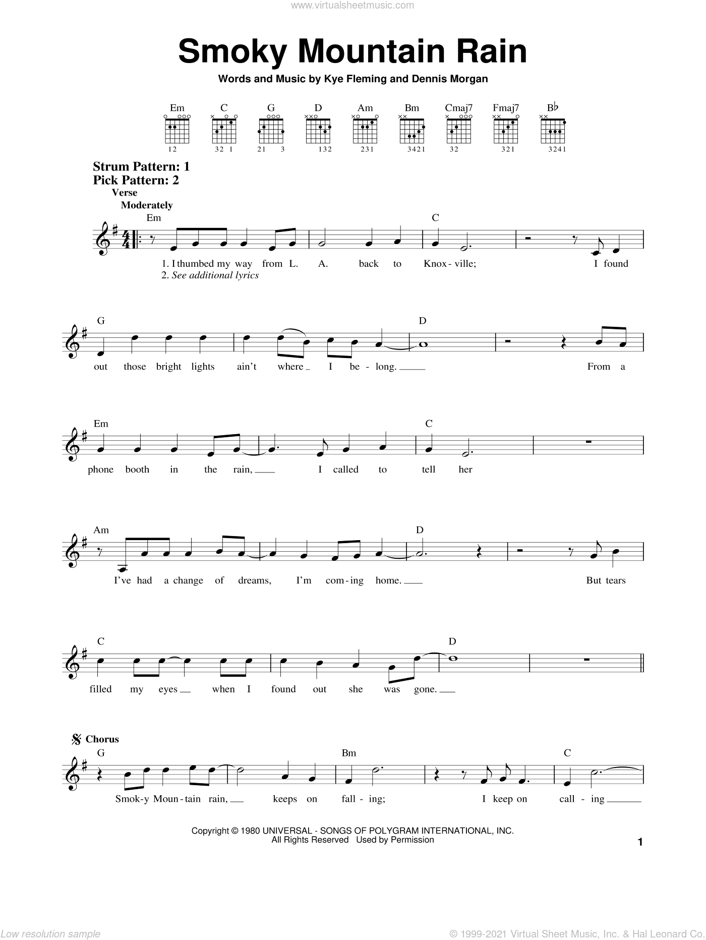 Smoky Mountain Rain sheet music for guitar solo (chords) by Ronnie Milsap and Dennis Morgan, easy guitar (chords). Score Image Preview.