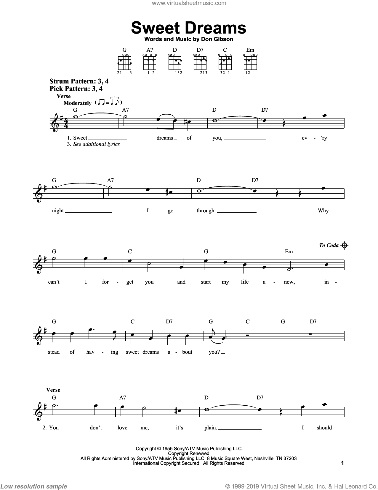 Cline - Sweet Dreams sheet music for guitar solo (chords) [PDF]