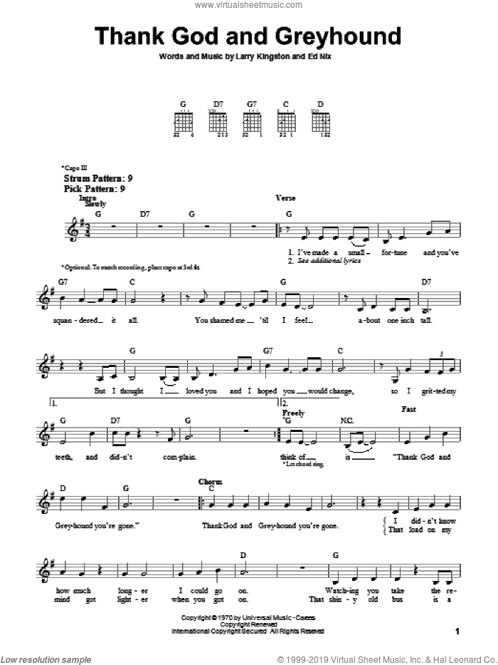 Thank God And Greyhound sheet music for guitar solo (chords) by Larry Kingston. Score Image Preview.
