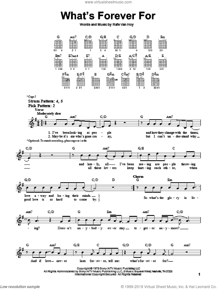 What's Forever For sheet music for guitar solo (chords) by Michael Martin Murphey and Rafe VanHoy, easy guitar (chords). Score Image Preview.