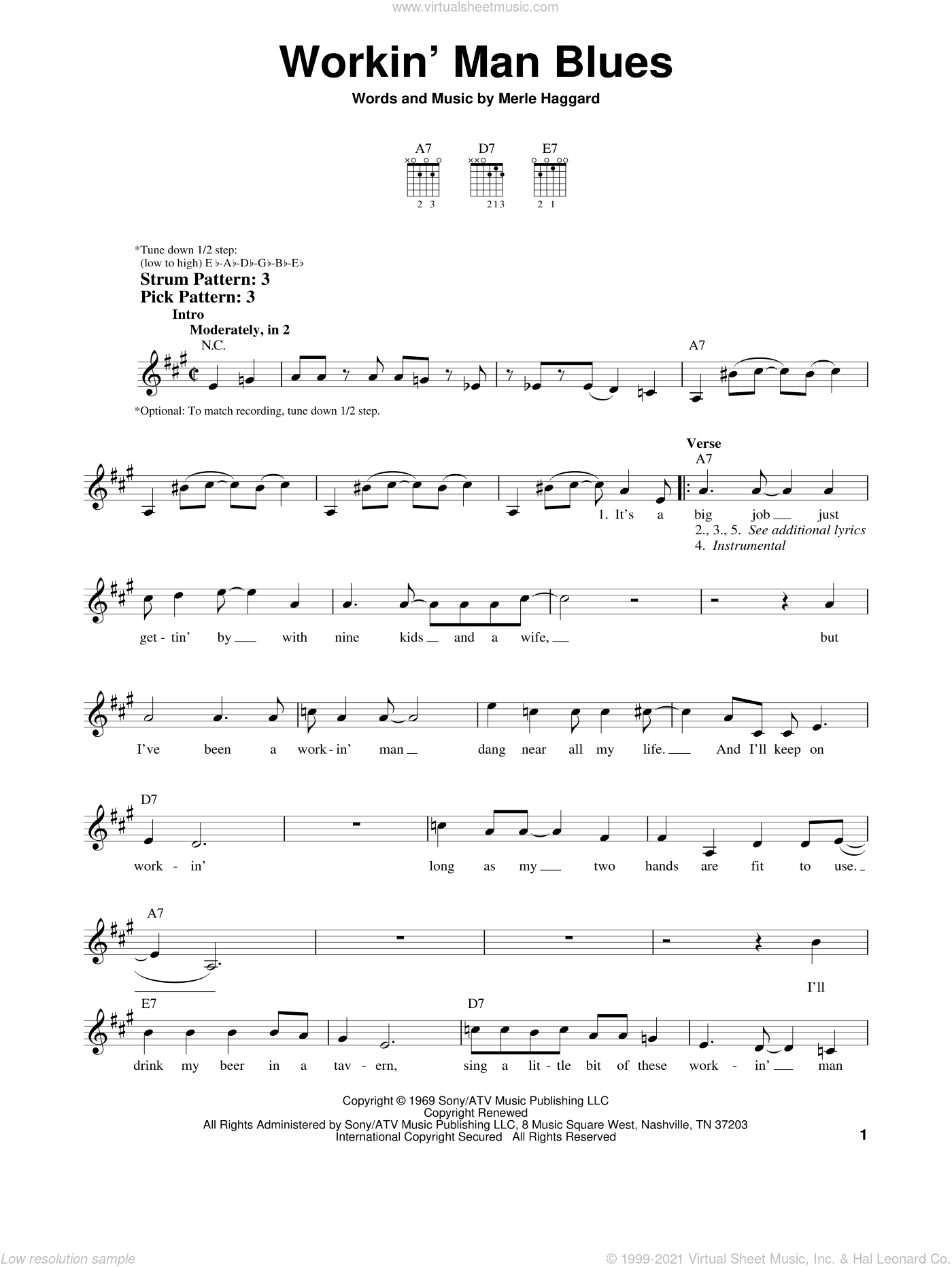 Workin' Man Blues sheet music for guitar solo (chords) by Merle Haggard, easy guitar (chords). Score Image Preview.